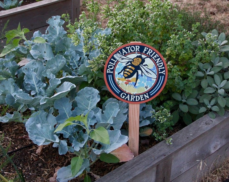 Pollinator Friendly Bee Garden Sign image 0