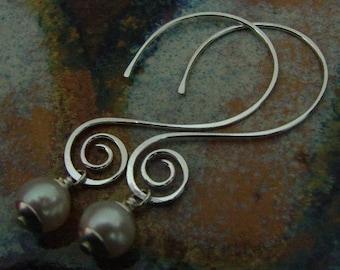 Swirly Pearl - Sterling silver earrings - open hoops with freshwater dangle