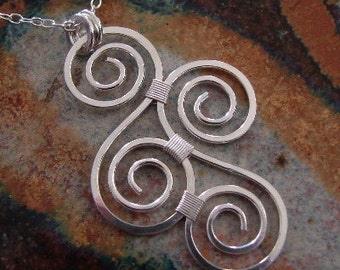 Bright and Bound Hammered Sterling Sterling Silver Necklace with scrolls, swirls, spirals