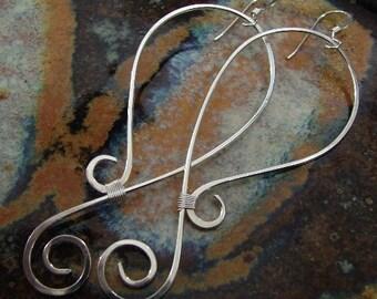 Long Swirls - Sterling silver earrings