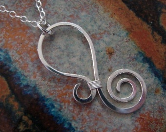 Hammered Sterling silver necklace - Paisley design