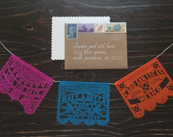 Mini Save The Date (75 pieces) Wedding papel picado garland personalized custom
