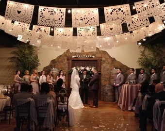 SALE - Wedding Garland Banner AMOR VARIETY Papel Picado Fiesta Wedding Flags - Mexican Hand Cut Tissue Paper Flags