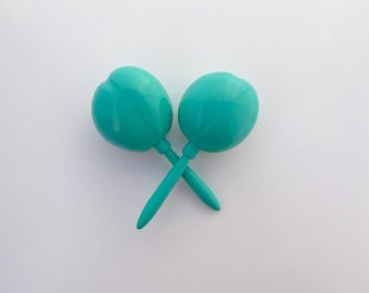 Maracas AQUA Turquoise Bright Pink Solid color Fiesta Party Favor Instrument shake for a kiss