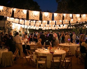 SALE Amor Wedding Garland Banner Papel Picado Fiesta Flags - Decoration outdoor bunting Mexican Hand Cut Tissue Paper Flags