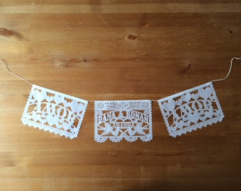 Mini cake topper WEDDING (7 inches wide) or Wedding papel picado garland personalized custom
