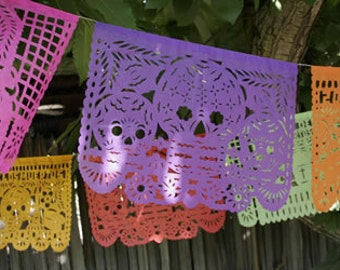 Dia de los muertos Large 18 foot long Tissue Paper Papel Picado Banner for your Fiesta - Day of the Dead