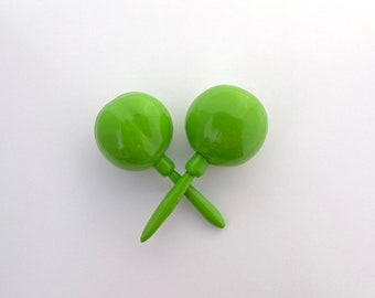 Maracas LIME Green Solid color Fiesta Party Favor Instrument shake for a kiss