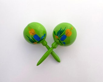 Maracas LIME Green Traditional Party Favor Instrument shake for a kiss