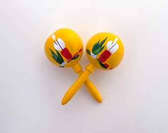 Maracas YELLOW Traditional Party Favor Instrument shake for a kiss