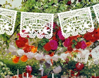 Personalized (each 20 ft. long) Wedding Garland Papel Picado Banners LOVE BIRDS Fiesta - Mexican Tissue with names date