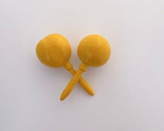 Maracas YELLOW Solid color Fiesta Party Favor Instrument shake for a kiss