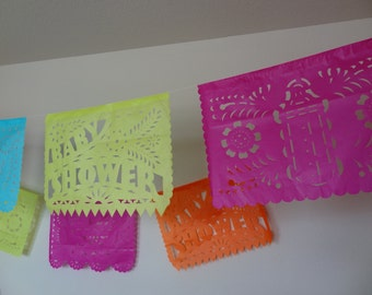 Baby Shower Papel Picado Banners bunting decoration garland baby mama pennant fiesta decoration shower mexican fiesta bebe mexico fiesta