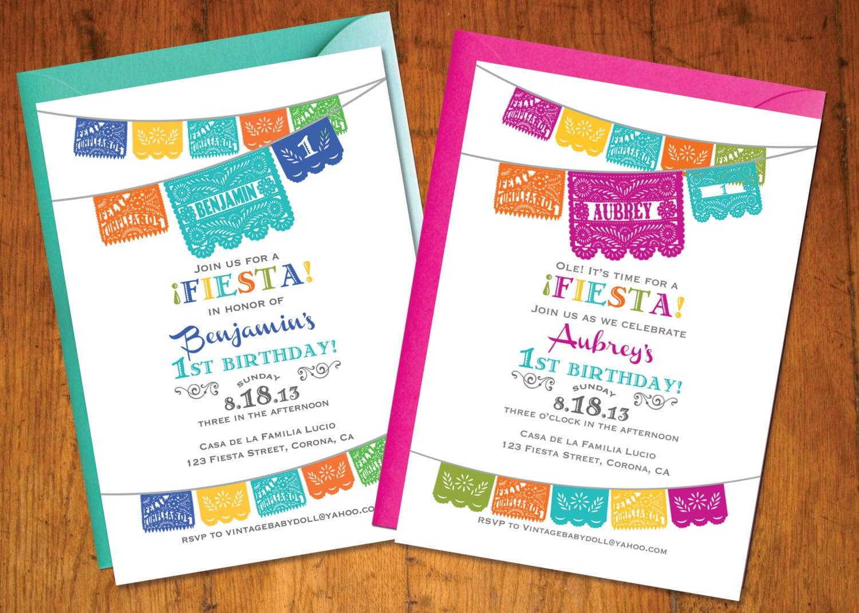 Fiesta Invitation Birthday invitation Fiesta theme papel | Etsy