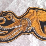 """Extra Large Realistic Ocean Octopus - Embroidered Iron on Applique - Patch - 11"""" wide x 5.5"""" tall"""