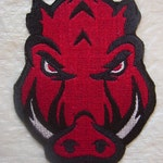 "Football Themed (Razorbacks) Razorback Embroidered  Iron on Patch - Small sizes:  3.5"" X 2.4"" - 2.5"" x 1.6"""
