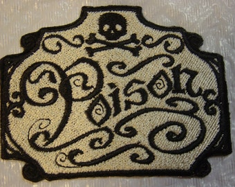 """Apothecary POISON LABEL Iron on Patch - Applique -  3.75"""" x 3"""""""