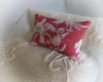 Dollhouse Miniature Toile de Jouy Print Cushion 1:12 scale oblong bolster pillow...Classic French Decor