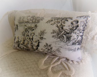 Dollhouse Miniature Toile de Jouy Print Cushion 1:12 scale oblong bolster pillow...Traditional French Decor