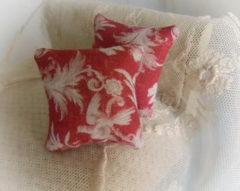Miniature Toile de Jouy Print Cushion 1:12 scale square pillow Dollhouse..Classic French Decor