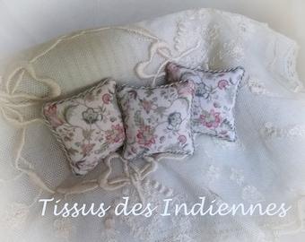 Miniature Provençal Print Cushion 1:12 scale square pillow Dollhouse..Classic French Decor …Tissus Indiennes