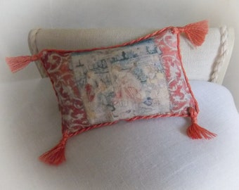 Miniature Medieval Tapestry Picture Cushion 1:12 scale oblong pillow...Corded and Tasselled..Dollhouse..Arts and Crafts.. Medieval Revival