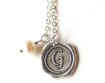 Alphabet personalized initial letter G charm silver and white pearl necklace
