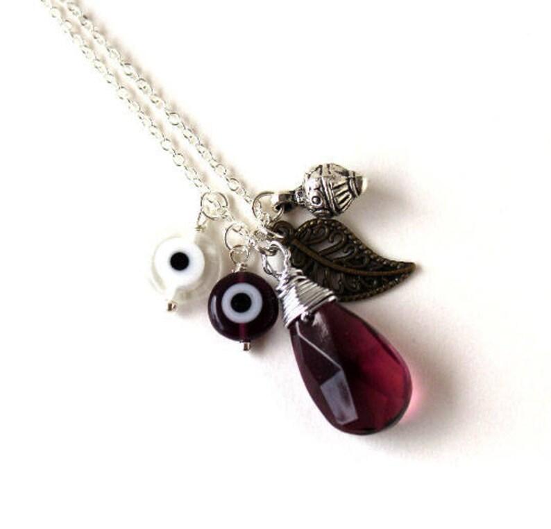 Silver ornate drop filigree leaf amethyst purple drop charm necklace LAST ONE