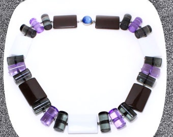 Chunky black white brown purple beaded statement necklace LAST ONE