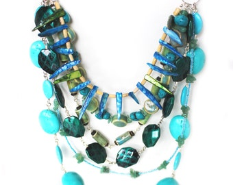 Multi stone multicolored tropical amazon beaded statement necklace LAST ONE