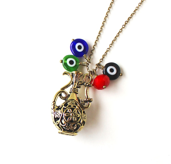 Genie Bottle Necklace: Genie Bottle And Evil Eye Necklace