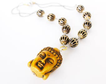 Ancient Buddha gold black beaded statement necklace LAST ONE