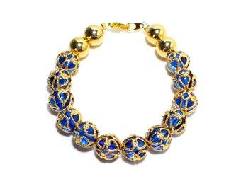 Gypsy blue golden filigree beaded stackable bracelet