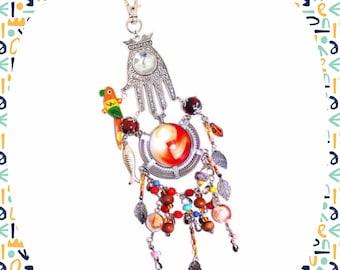 Bohemian Morocco statement key ring or handbag charm zipper charm key ring fob LAST ONE