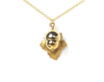 Woodland acorn and leaf golden charm necklace LAST ONE