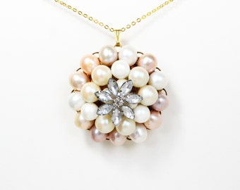 Vintage crystal flower blush pink and peach pearl gold necklace
