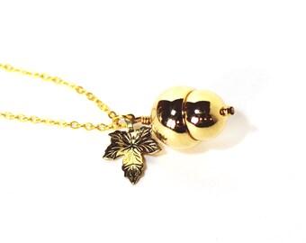 Woodland acorn and leaf golden charm necklace