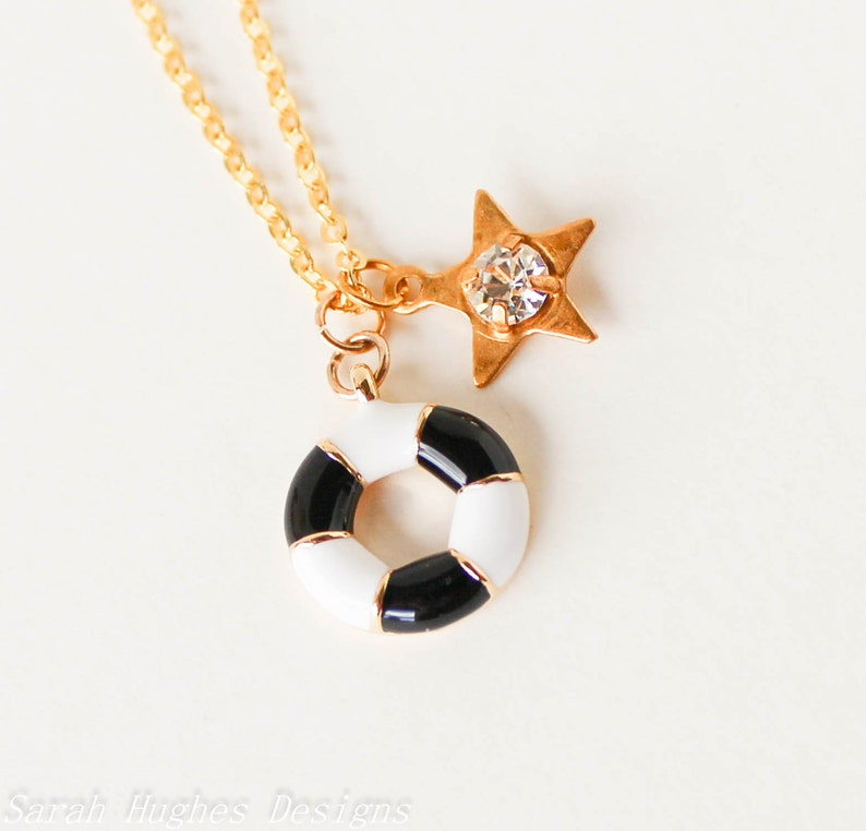 Nautical black and white life saver and clear crystal star gold charm necklace LAST ONE