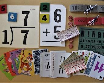 Vintage Numbers Paper Pack, Vintage Numbers, Game Pieces, Scrapbooking, Mixed Media, Collage