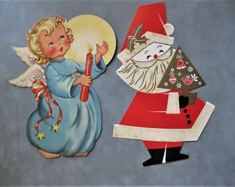 Vintage Angel and Santa, Hallmark and Dennison
