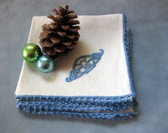 Beautiful Vintage Cotton Napkins with Hand Stitched Trim, Set of Four