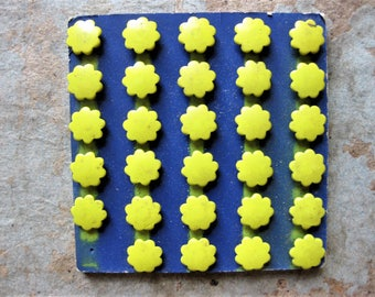 Unusual and Beautiful Vintage Metal Tacks, Yellow Flowers, Mixed Media, Altered Art Supply