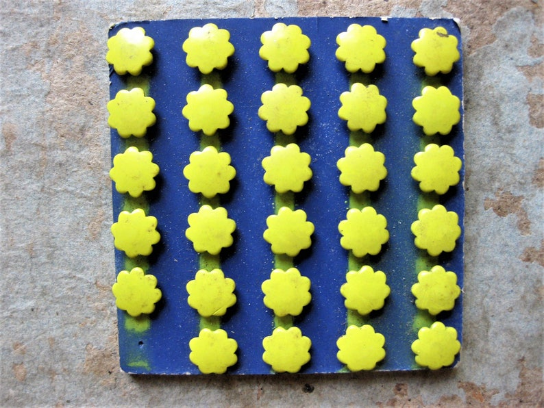 Mixed Media Altered Art Supply Unusual and Beautiful Vintage Metal Tacks Yellow Flowers