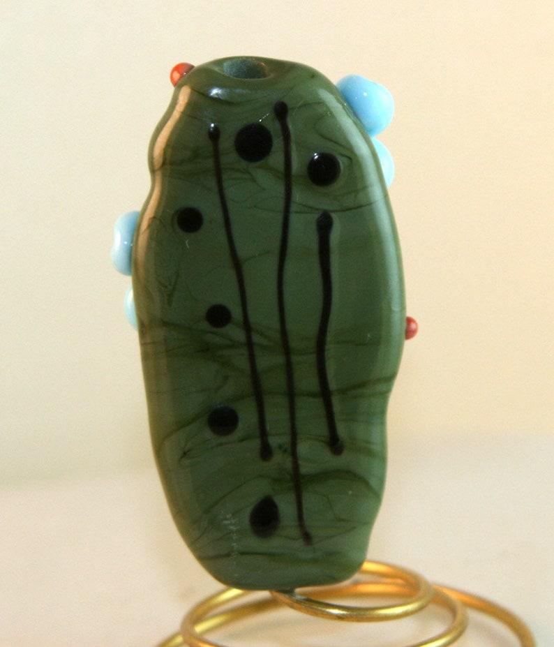 BWB Lampwork Art Glass SRA Handmade Art Glass Focal Garden Ladybug Bead Burnt Wood Beads