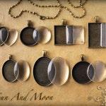 Cabochons Settings Jewelry Antique Bronze DiY KITS ~ 7 Sets ~ Bezel, Necklace, Premium FX Glass Pieces ~ Photo Jewelry Charm Pendant Trays