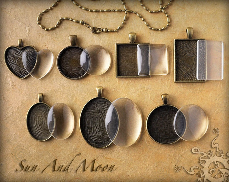Cabochons Settings Jewelry Antique Bronze DiY KITS  7 Sets  image 0