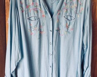 7d7c3ec7a EMBROIDERED COWBOY BLOUSE floral, pier 1, 80s, drapey rayon
