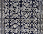 Vintage Woven Wool Coverlet, indigo, creamy white, birds, late 1800 s, CLASSIC