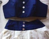 1960s BATHING SUIT 2 PIECE sailor look pleated skirt adorable