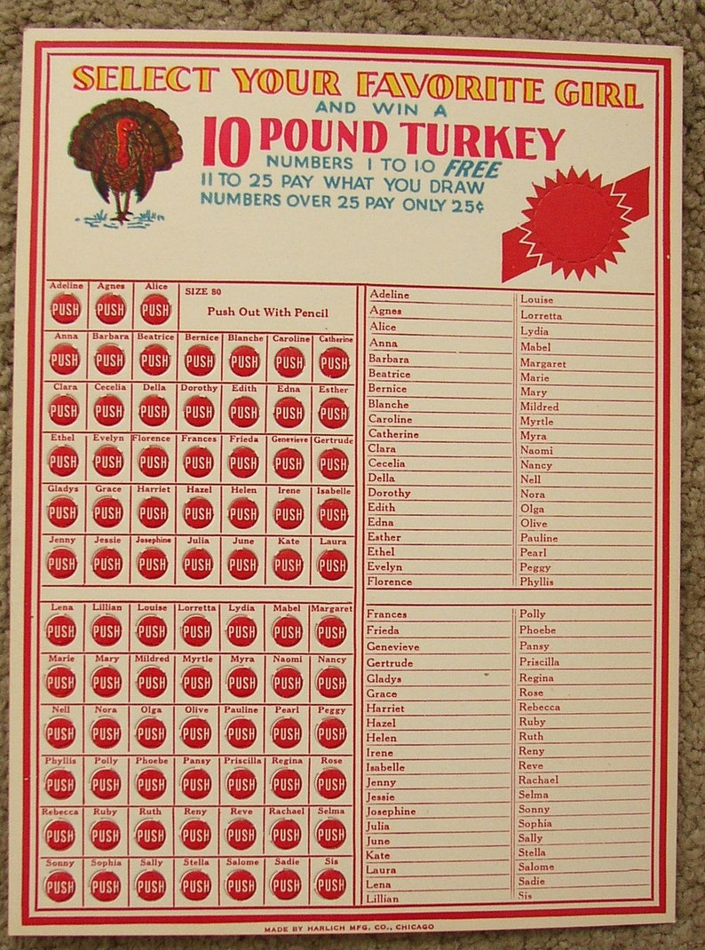 Vintage Name TURKEY GAME CARD  Select your fav girl      win a 10 lb  Turkey   mid century, fun old names